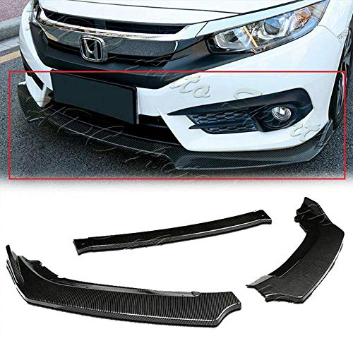 S SIZVER Signature 3PCS Carbon Fiber Print Look Front Lower Bumper Body Kit Spoiler Lip Compatible with 2016-2020 Civic All Model