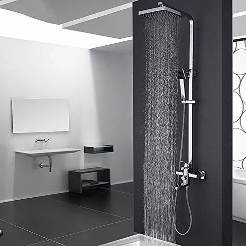 IREANJ Conjuntos de bañera moderno metal cobre plata negro baño ducha sistema ducha mano cobre y frío cuadrado Top Spray 3 funciones presurizado boquilla hermoso y práctico Bathroo