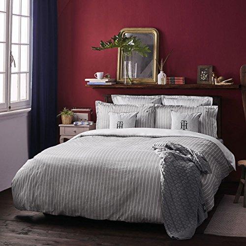 Tommy Hilfiger Magita - Juego de cama (1 funda nórdica de 200 x 200 cm y 2 fundas de almohada de 80 x 80 cm), diseño de rayas, color gris