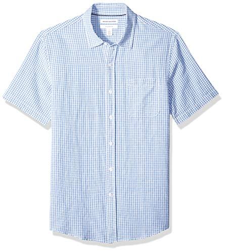 Amazon Essentials - Camisa de lino a rayas, de manga corta y corte entallado para hombre, Azul (Blue Gingham), US M (EU M)