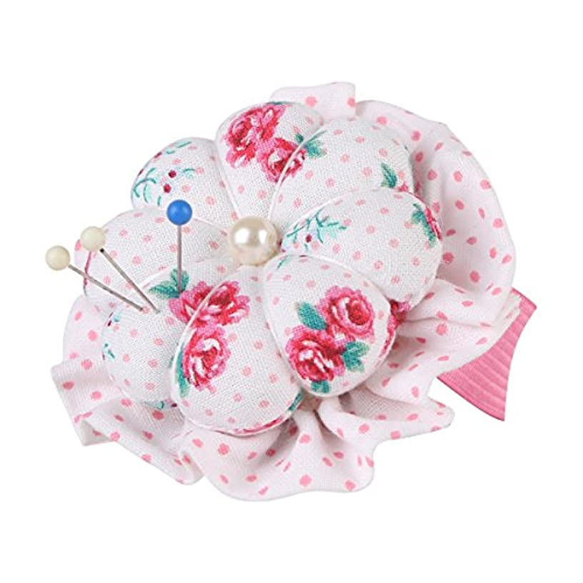 NEOVIVA Flower Shaped Small Pincushions for Sewing with Wrist Band, Style Blossom, Pack of 2, Floral Fuchsia Roses