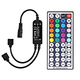 SUPERNIGHT 44 Key RGB RF Remote Dimmer Controller, LED Light Strip Wireless Kit Brightness Flash Mode Control Options with 2-in-1 Dual 4-Pin Output Receiver for SMD 2835 3528 5050 RGB LED Strip Light