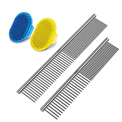 grooming combs for dogs ROPO dog grooming brush, pet cat and dog comb tool,Dog brush 2pcs+Dog comb 2pcs