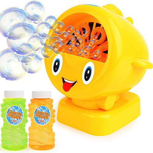 Bubble Machine for Kids , Automatic Bubble Blower for Kids - Great Toy for Babies ,Toddlers and Kids Includes 2 X4 Oz Bubble Solution Up to 500 Bubbles Per Minute Indoor and Outdoors Kids Toy