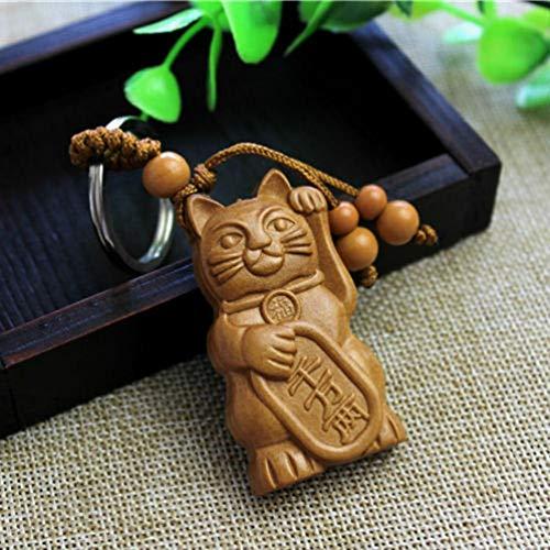 Lucky Fortune kat snijwerk houten hanger sleutelhanger sleutelhanger ketting hout snijwerk ornamenten sieraden accessoires geschenken
