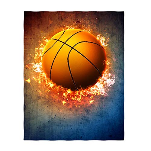 QH 60 x 80 Inch Flaming Basketball Super Soft Throw Blanket for Bed Sofa Lightweight Blanket for All Seasons