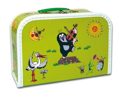 Maulwurfshop 4123 - Kinderkoffer der kleine Maulwurf 30 cm Pappe Motiv Geige, hellgrün
