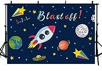 新しい宇宙写真の背景漫画宇宙爆発惑星星空ロケット船少年誕生日パーティー背景写真撮影用バナー7x5ft