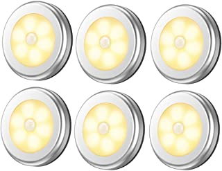 Pack of 6Pcs Motion Sensor Lights,Cordless Battery-Powered LED Night Light, Stick-anywhere Closet Lights Stair Lights,Puck...