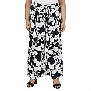 Splash Floral Two-Tone Front-Ribbon Palazzo Pants for Women -Black and White, 24
