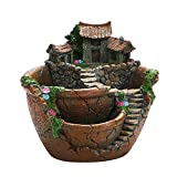 IWILCS Vaso Creativo per Piante Grasse, Vasi di Fiore pianta Fata Vaso, Contenitore per Piante Grasse Cactus, Modello Giardino Pensile con Casetta per Giardino, Arancione