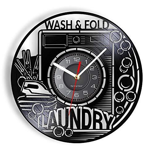 Enofvd Lavar la Sala de lavandería Plegable Letrero Reloj de Pared Vintage reutilizar Vinilo Registro de Barrios Marginales Reloj de Pared lavadero símbolo de Lavado Obra de Arte 12 Pulgadas