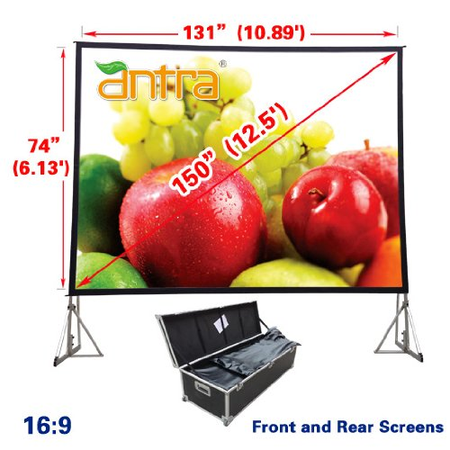 Antra 16:9 Fast Fold Projector Projection Screen with Front & Rear Projection Material on Heavy Duty Frame w/Carry Case (150' Diagonal / 11.1' X 5.4')