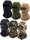 6 Pieces Balaclava Face Mask Motorcycle Windproof Camouflage Fishing Face Cover Winter Ski Mask (Black, Khaki, Army Green, Printed Black, Printed Green, Dark Green)