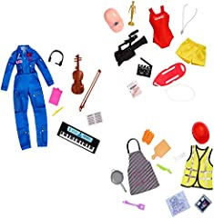 Barbie Surprise Careers packs let kids explore new careers with a fun, unboxing twist! Each Barbie Surprise Careers pack includes fashions and accessories for two mystery careers in each box. Options include a chef, movie director, a musician and thr...