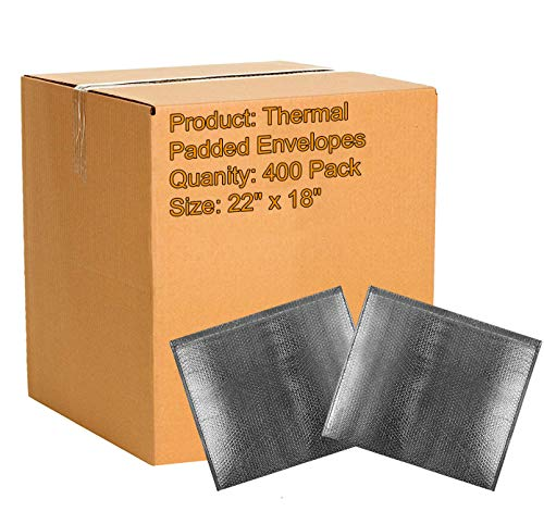 400 Pack Cool Shield Bubble Mailers 22x18. Thermal Padded Envelopes X-Large Cushion Food Mailers 22 x 18. Peel and Seal. Thermal Shipping Bags for Mailing, Packing. Packaging in Bulk, Wholesale Price.