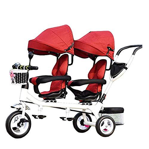 TJP 4 en 1 Triciclo Niños, Ligero Asiento Doble de 3 Ruedas del Triciclo Bici con la Cesta, el bebé Infantil Asientos Gemelos Carro para 1-7 años del niño,B