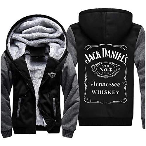 XINGXING Herren Hoodie Sweatshirt – Jack Daniels Gedruckt Warm Sweatshirt Baseball Uniform Langarm Reißverschluss Jacke – Teen Geschenk 3- XXL