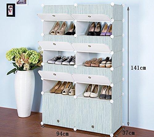 Chaussure Multi-Couches imperméables résistant à la poussière résine en Plastique Montage Rack, Simple Multifonction dortoir ménage Shoe Cabinet (Taille : 94 * 37 * 141cm)