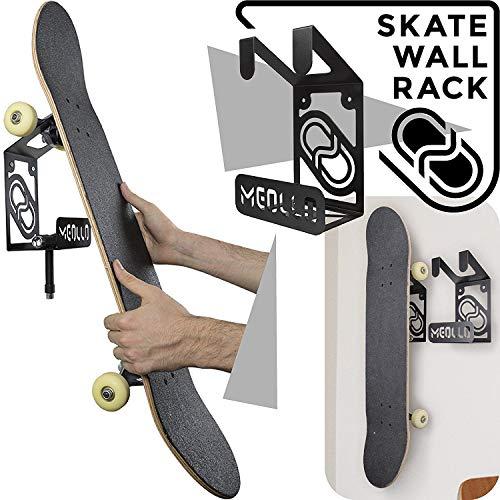 MEOLLO Skateboard Wandhalter (100% Stahl) (2 X Schwarz)