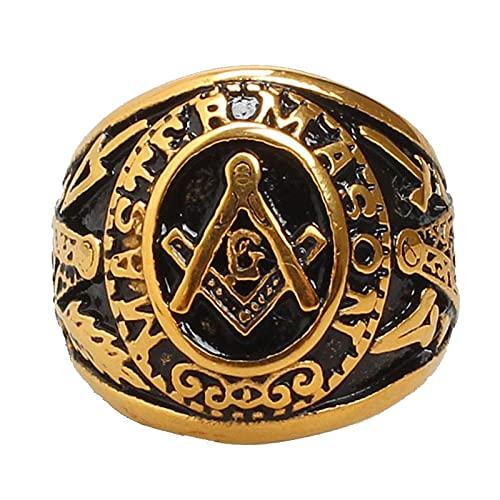 Freemason - Anillo Masónico De Acero Inoxidable Mason Master Mason En Tono Dorado Para Hombre8