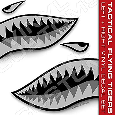 Flying Tigers Shark Mouth Teeth Vinyl Decals Car Truck Boat Graphics Tactical
