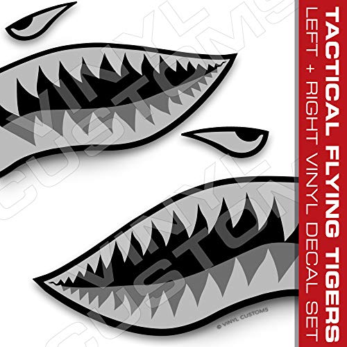 Flying Tigers Shark Mouth Teeth Vinyl Decals Car Truck Boat Graphics Tactical (50