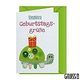 Knopfkarte 77 - Verspätete Geburtstagsgrüße - Geburtstagskarte - Midi-Karte