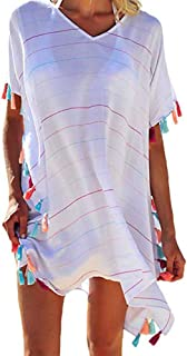 MUJUZE Women's Summer Swimsuit Bikini Beach Swimwear Perspective Print Tassel Cover up