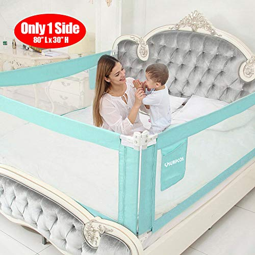 """SURPCOS Bed Rails for Toddlers - 60"""" 70"""" 80"""" Extra Long Baby Bed Rail Guard for Kids Twin, Double, Full Size Queen & King Mattress (Green) (1Side: 80''(L) X30''(H))"""