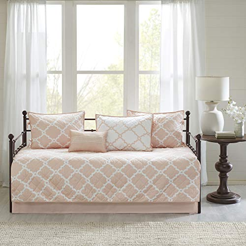 Madison Park Essentials Merritt Reversible Daybed Cover-Fretwork Print, Diamond Quilting All Season Cozy Bedding with Bedskirt, Matching Shams, Decorative Pillow, 75'x39', Peach 6 Piece