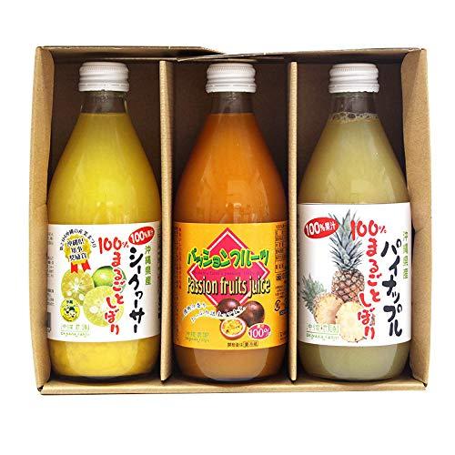 100%果汁贅沢セット 沖縄農園 シークワーサー パイナップル パッションフルーツ 果汁100% 360ml各1本