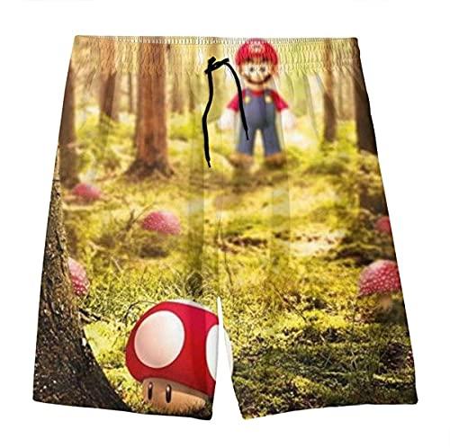 MPY-SEA Super Mario - Pantalones cortos de playa de secado rápido, con impresión 3D, para verano, playa, vacaciones, surf, playa, pantalones cortos (Super Mario, 110)