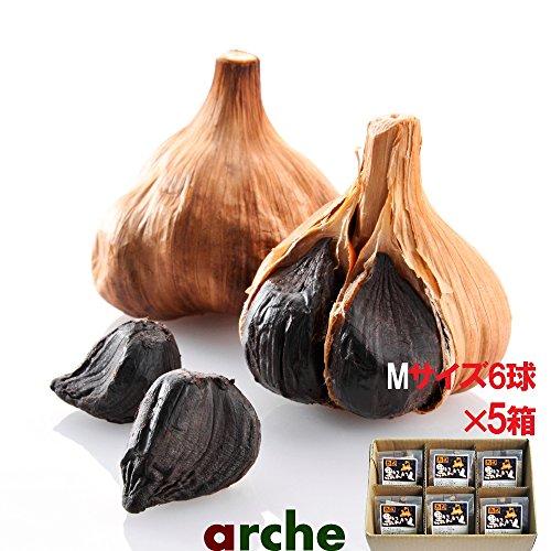 青森県産 ニンニク 熟成 黒にんにく Mサイズ個包装 6球箱入り×5箱セット(計30球)