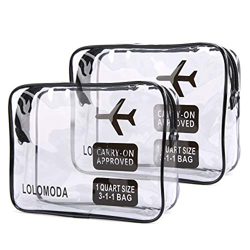 2pcs Clear Toiletry Bag with Zipper Travel Luggage Pouch Carry On Clear Airport Airline Compliant PVC Wash Bag Organizer Cosmetic Makeup Bags (Black)