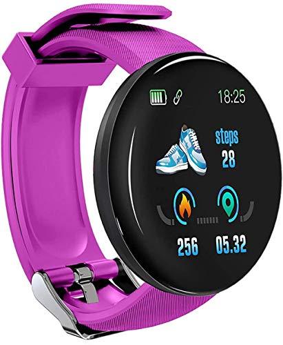 Reloj inteligente redondo de presión arterial para hombre, reloj inteligente para mujer, impermeable, ritmo cardíaco, monitor de fitness, color morado