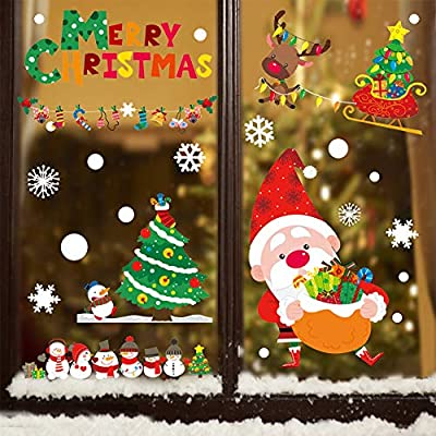 CCINEE 120PCS Christmas Window Clings Sticker Snowflakes Santa Claus Reindeer Xmas Window Decals for Party Decoration Holiday Supplies