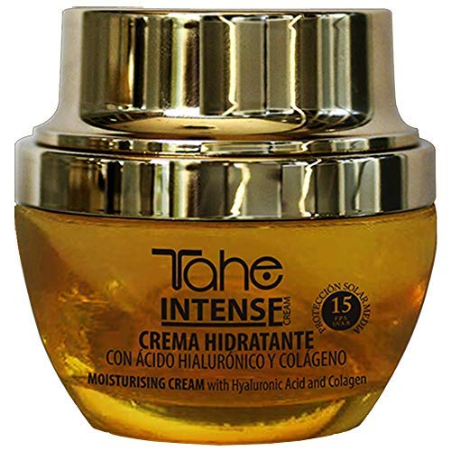 Tahe Intense Crema Facial Hidratante con Protección Solar 15 con Vitamina C y Ácido Hialurónico, 50 ml