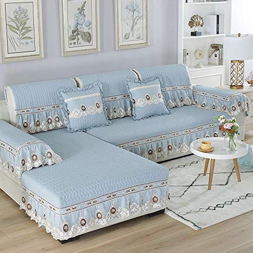 YUTJK Sofa Cover Four Seasons,Brushed Washed Cotton Sofa Cushion with Lace Skirt,Living Room Non-slip Sofa Cover,Office Fabric Sofa Towel-Blue_70×150cm+18cm