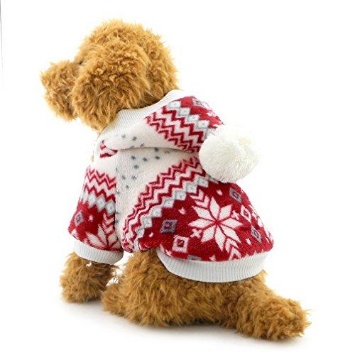 Ranphy Suéter para perros pequeños para mascotas, abrigo de invierno con copos de nieve, forro polar, sudadera con capucha, para cachorro, ropa para perritos rojos, talla S