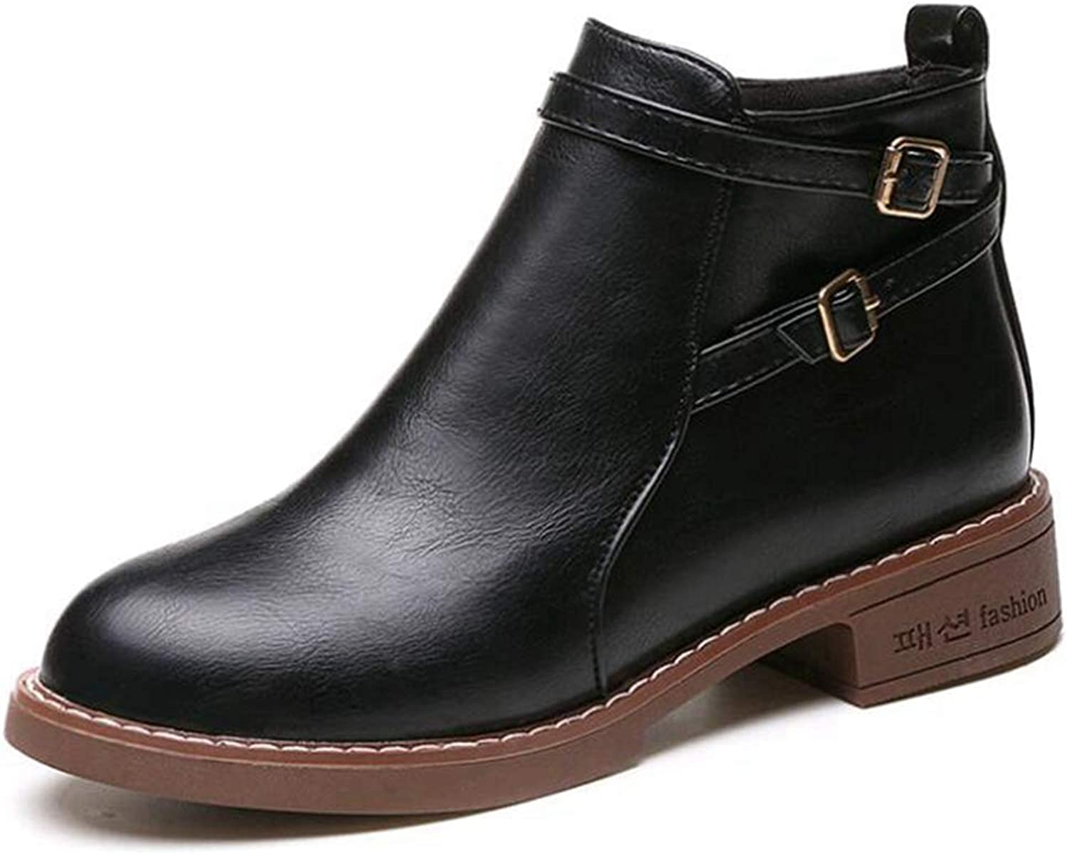 Ankle Boots Flats Round Toe Back Zip Martin Boots PU Leather Woman shoes