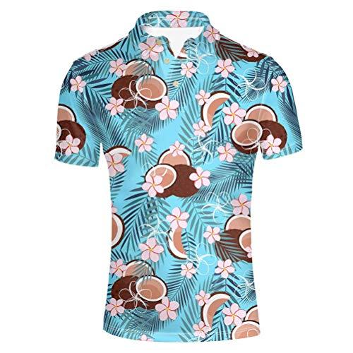 chaqlin Polo-Shirts für Herren, Erwachsene, Mode, Sport, Golf, kurzärmelig, Sommer, Hawaiianischer Stil, Bluse, Größe S-XXXL Gr. L, Floralblau