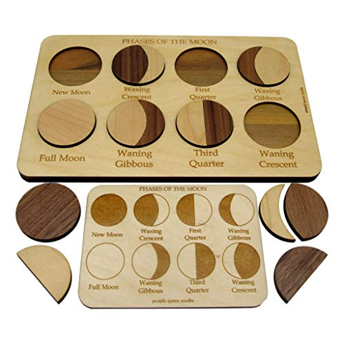 Moon Phases Puzzle - Montessori Puzzle - Education Tool for The Lunar Cycle