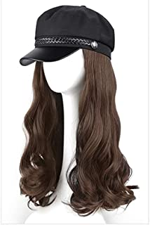 Hat Wig Female Long Curly Hair Wavy Sailor Newsboy Cap Wig One Piece Suitable for Black White Women Daily Party Use,Light ...