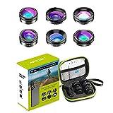 Apexel - Kit obiettivo fotocamera 6 in 1 con obiettivo grandangolare + obiettivo macro + obiettivo Fisheye + filtro ND + filtro CPL/Star per smartphone iPhone 8/x 7/Plus Samsung S8 Android