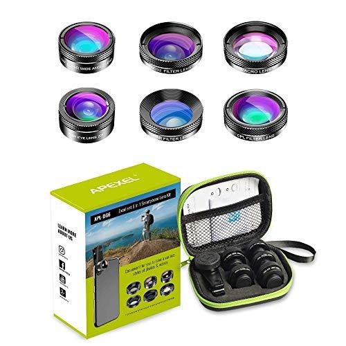 Apexel 6-in-1 Handy-Kameraobjektiv-Set, Weitwinkel-Objektiv, Makro-Objektiv, Fischaugen-Objektiv, ND-Filter, CPL/Star-Filter, Clip-On-Handy für iPhone 8/X 7/Plus, Samsung S8 Android Smartphones