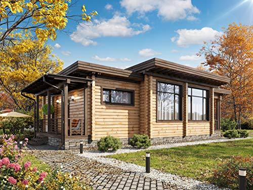 Kit de casa de tronco laminado ECOHOUSEMART   Kit de cabina de construcción de...