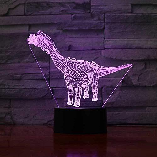 3D ilusión lámpara LED Luz de Noche dinosaur lámpara de escritorio creativa para cumpleaños Con interfaz USB, cambio de color colorido