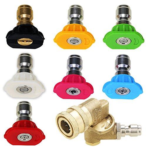 M MINGLE Werkzeug Hochdruckreiniger Zubehör-Kit, 7 Power Waschmaschine Spray Düse Tipps, Schnell Anschluss schwenkbarer Kupplung 7 Nozzle+1 Coupler , MEHRWEG