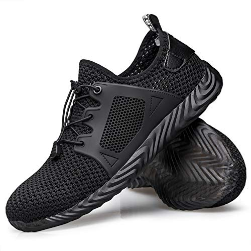 PDBQ Steel Toe Shoes Work Safety Shoes for Men and Women Non Slip Breathable Industrial & Construction Shoes
